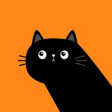 Black Cat Kitten Face Head Body In The Corner. Cute Kawaii Baby Pet Animal. Cartoon Character. Scandinavian Style. Notebook Cover, Tshirt, Greeting Card Print. Flat Design. Orange Background.