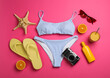 Leinwandbild Motiv Flat lay composition with beach objects on pink background