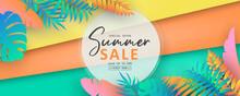 Editable Summer Sale Banner With Tropical Leaf Theme