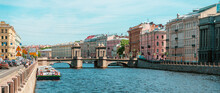 Panorama Of The City Of St. Petersburg In Summer. Tourist Boat Tours On The River. Saint Petersburg, Russia - 05 June 2021