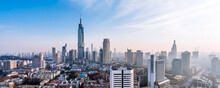 Dusk Scenery Of Zifeng Building And City Skyline In Nanjing, Jiangsu, China