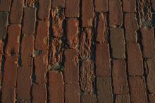 Detail Of Bricks In Old Red Brick Road
