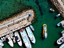 High Angle View Of Boats Moored On Sea Shore