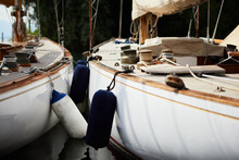 Close-up Of Boats Moored In Row