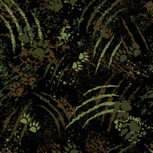 Camouflage With Footprints Of Tiger Paws, Scratches Of Claws And Splatters, Seamless Vector Background. Military Pattern With Abstract Black, Brown And Green Silhouettes Of Paws, Scrapes, Cuts, Splash