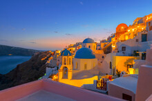 Greece Santorini Island In Cyclades, Wide View Of White Washed Colorful Houses At Night