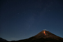 Mount Merapi Erupts With High Intensity At Night During A Full Moon,