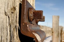 Bolted Plate Attached On Railroad Tie
