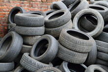 Stack Of Obsolete Tires Outdoors