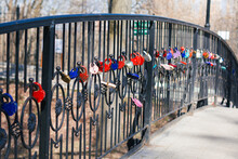 Wedding Locks On Iron Fence
