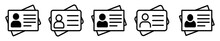 ID Card Icon Set, Driver's License Identification Card Symbol, Editable Stroke. Vector Illustration