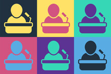Pop Art Speaker Icon Isolated On Color Background. Orator Speaking From Tribune. Public Speech. Person On Podium. Vector