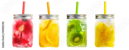 Cuadros en Lienzo Bright Colorful refreshing summer drinks in mason jars with lid and straws isola