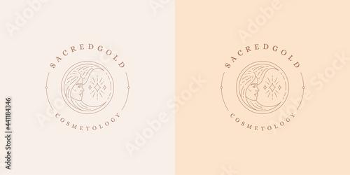 Female portrait as moon crescent logo emblem design template vector illustration Fototapet