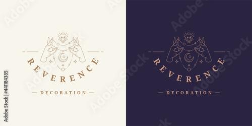 Photo Magic hands with moon crescent logo emblem design template vector illustration i