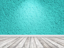 Empty Painted Blue Color Wall With Spotlight. Interior Room Background