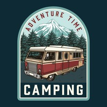 Camping Vintage Colorful Label