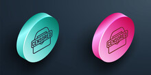 Isometric Line Censored Stamp Icon Isolated On Black Background. Turquoise And Pink Circle Button. Vector