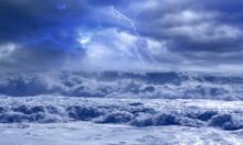 Lightnings In Dark Stormy Sky Over The Stormy Waving Sea
