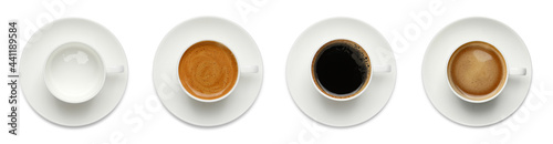 Fotografie, Obraz Set with cups of hot aromatic coffee on white background, top view