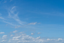 Large Image Of Bright Blue Sky With Small Fluffy White Clouds, Bright Day