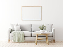 Horizontal Poster Mockup With Wooden Frame In Living Room Interior With Grey Sofa, Pillows, Green Throw, Olive Twigs In Vase And Coffee Table On Empty Wall Background. 3D Rendering, Illustration