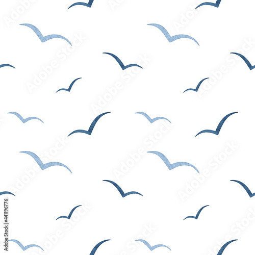 Fotografie, Obraz Watercolor navy blue abstract Seagull seamless pattern