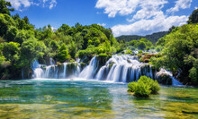 View Of Krka National Park, Croatia, Europe. Splendid Summer View Of Krka Waterfalls. Fantastic Scene Of Krka National Park, Croatia, Europe.