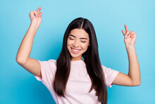 Portrait Of Pretty Cool Dreamy Cheerful Girl Dancing Having Fun Pastime Rest Relax Isolated Over Bright Blue Color Background