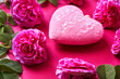 Leinwandbild Motiv Soft pink heart and rosebuds on a pink background. Valentine's day gift concept
