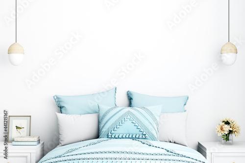Fotografie, Obraz Empty Wall mockup, Minimalist mockup, Coastal Boho Bedroom mockup, Interior fram