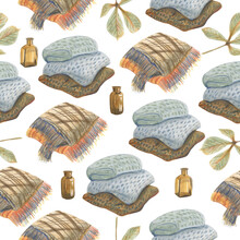 Seamless Pattern With Plaids, Glass Vases And Autumn Leaves. Made In The Technique Of Colored Pencils. Hand Drawn.