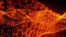 Sound Wave And Audio Technology Concept. Orange, Futuristic Digital Style. 3D Render.