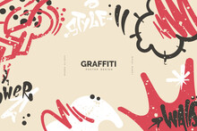 Abstract Graffiti Background With Colorful Tags, Paint Splashes, Scribbles And Throw Up Pieces. Street Art Banner Design. Artistic Poster In Hand Drawn Graffiti Style. Vector Illustration