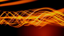 Data Transfer Concept. Orange, Futuristic Digital Style. 3D Render.