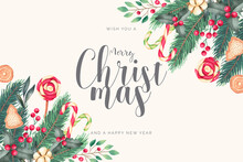 Watercolor Christmas Background With Candies Leaves Design Vector Illustration