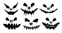 A Set Of Six Scary Faces Of Ghosts Or Pumpkins In Flat Style. Elements For Decoration And Design. Vector Illustration.