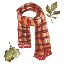 Hand Drawing Watercolor Autumn Clothes And Accessories: Red Scarf. Use For Poster, Print, Card, Template, Market, Shop, Advertising, Pattern