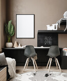 Mock up frame in children room background, 3D render