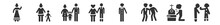 Filled Set Of Family Relations Icons. Glyph Vector Icons Such As Wife, Nephew, Parent, Parent's Sibling, Husband, Step-brother. Vector Illustration.