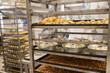 Freshly baked and raw bread. Industrially made baked goods
