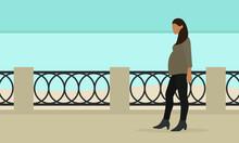 Pregnant Female Character Walking Along The Embankment