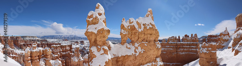 Foto landscape with snow, Bryce Canyon
