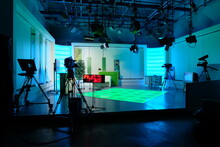 Equipment Of A Television Studio In Blue Lights