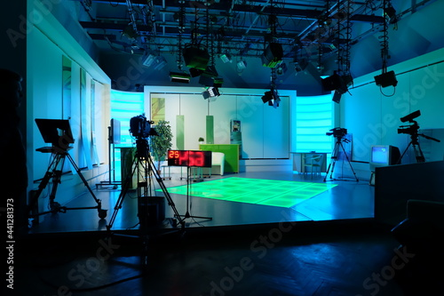 Photo equipment of a television studio in blue lights