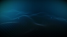 Colorful Particles Wave Motion Background. Techy Wave Particles Background.