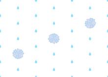 雨とアジサイのシームレスなドット背景のイラスト
