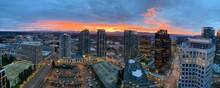 Sunrise, Bellevue Washington With A Dramatic And Colorful Sky Seen From An Elevated Perspective.
