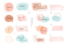 Watercolor Vintage Set Of Elements And Ribbons  And Speech Bubble. Hand Drawn Isolated Objects For Romantic Or Wedding Design.