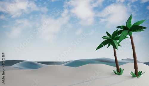 Sunny tropical beach with palm trees .3D rendering
